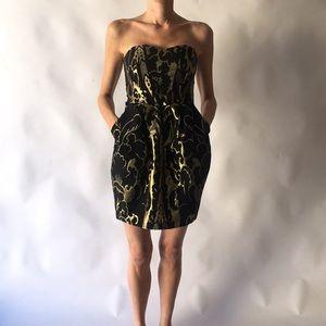 H&M Gold and Black Lamè Cocktail Dress w Pockets
